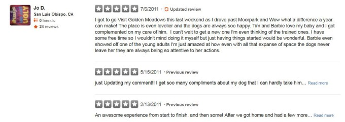 Golden Meadows Retrievers Yelp Review 12