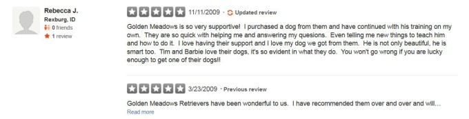 Golden Meadows Retrievers Yelp Review 21