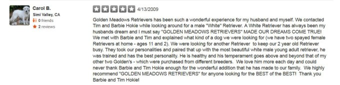 Golden Meadows Retrievers Yelp Review 23