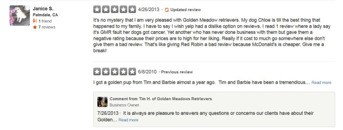 Golden Meadows Retrievers Yelp Review 6